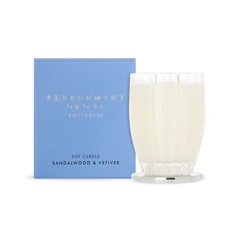 PEPPERMINT GROVE SANDALWOOD & VETIVER LARGE CANDLE 350G