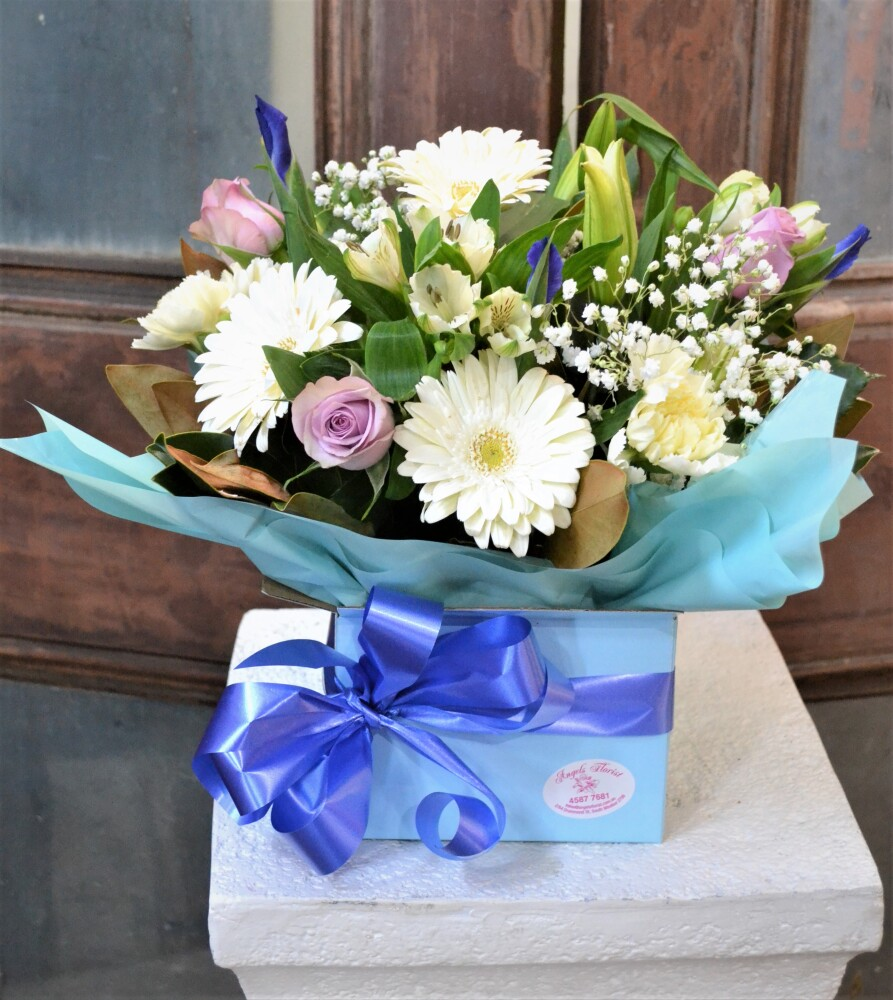 Blue skies Flower box arrangement